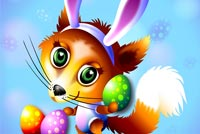Easter email backgrounds. Big Eyes Fox Wearing Bunny Ears