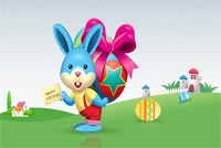 Baby Blue Bunny Easter Background