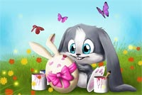Easter Bunny Flowers & Butterflies Background