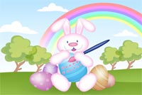 Pink Bunny And The Rainbow Background