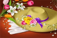 Pretty Hat With Easter Flowers Background