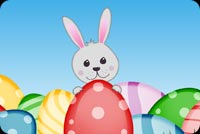 Easter Bunny Holding Eggs Background