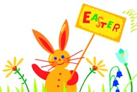 Bunny Holding Easter Sign Background