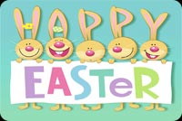 5 Bunnies Happy Easter Background