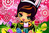 Cute Girl, Easter Eggs & Flowers Background