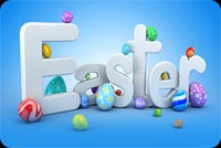 Blue Easter & Colorful Eggs Background