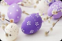 Happy Spring, Purple Eggs Background