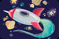 Spaceship Cartoon Background