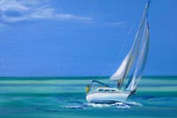 Painting Sailboat & Ocean Background