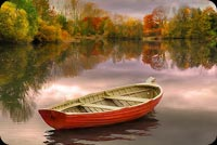 Lonely Boat Fall Autumn Lake Background