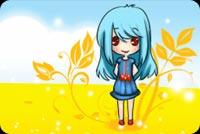 Cute Little Girl In Sunny Autumn Background