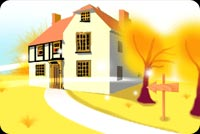 Fall autumn email backgrounds. Country House In Fall Autumn