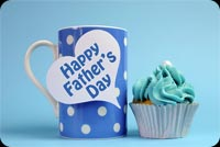 Happy Father's Day Blue Coffee Cup & Cupcake Background