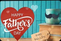 Father's Day Red Heart Coffee Cup & Books Background