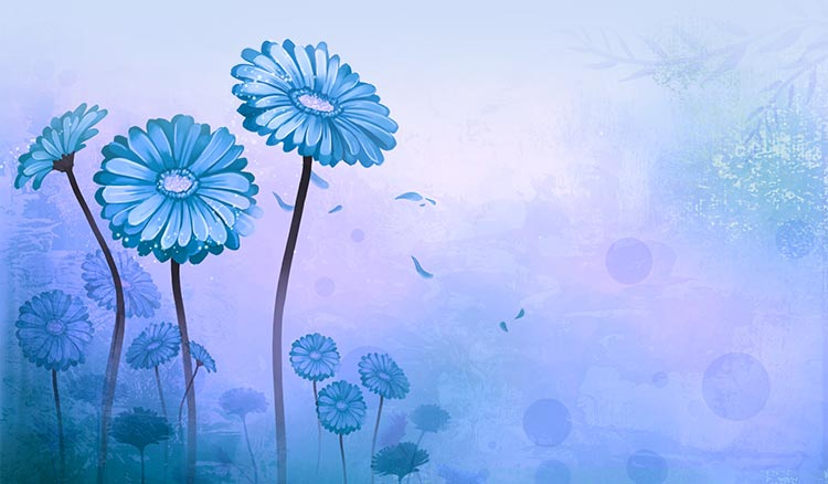 Flowers email stationery (stationary): Flower Art Blue
