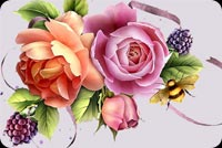 Rose Bouquet & Bee Background