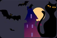 Halloween Kitty And The Bats Background