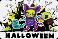 Funny Cat Halloween Background
