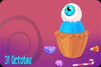 Cup Cake Eye Ball Halloween Background