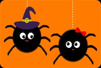 Halloween email backgrounds. Cute Couple Spiders