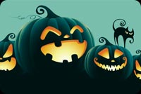 Halloween email backgrounds. Smiling Pumpkins And The Black Cat