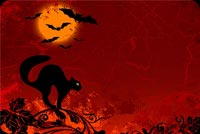 Halloween Moon, Bats & Black Cat Background