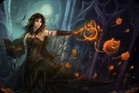 Halloween email backgrounds. Beautiful Witch, Fantasy