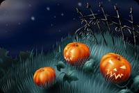 Halloween email backgrounds. Three Pumpkins Wishes