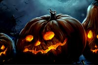 Halloween Night Pumpkins & Bats Background