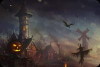 Halloween Night Pumpkin Bird Background