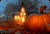 Halloween House & Big Pumpkin Background