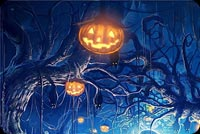 Hallloween Pumpkins Hanging Trees Background