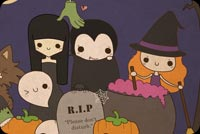 Halloween email backgrounds. Cute Witch & Her Friends