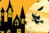 Halloween Night Witch, Bats & The Moon Background