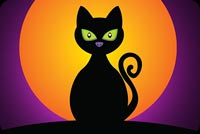 Halloween email backgrounds. Black Cat Halloween Moon