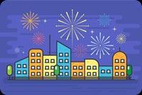 City Fireworks Background
