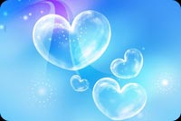 Blue Bubble Hearts Background