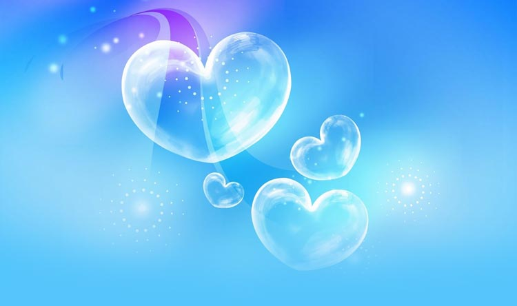 love email stationery  stationary   blue bubble hearts