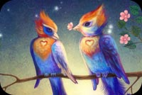 Colorful Love Birds Background