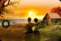 Artwork Kids Love Sunset Background