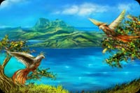 Blue Lagoon Love Birds Background