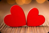 Two Red Little Hearts Background