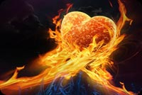 Love email backgrounds. Hands Fire Heart