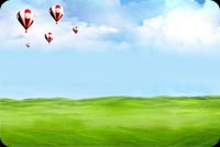 Greenfield, Clouds & Balloons Background