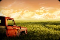 Old Truck & Nature Sunset Background