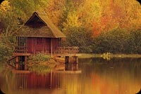 Autumn Forests Houses Lakes Background