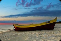 Sunset On The Beach & Boat Background