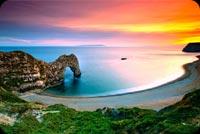 Durdle Door Beautiful Sunset Ocean Landscape Background