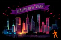 Animated Happy New Year City Fireworks Background