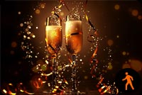 Animated Champagne Happy New Year Background